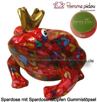 Spardose Spartier Frosch Max rot Keramik Marke Pomme Pidou Maße ca.: L= 18 cm